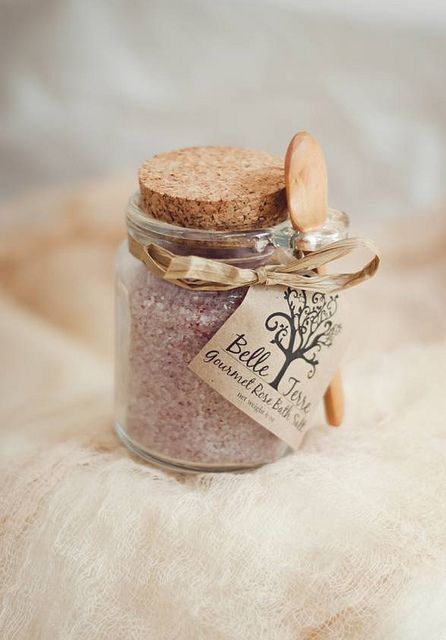 Rose bath salt favor with wooden spoon