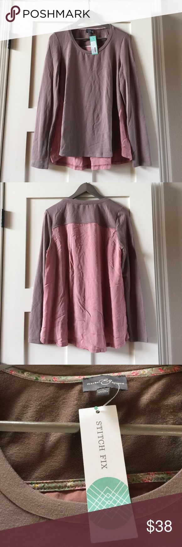 NWT Market & Spruce Stitch Fix pink sheer back top Market & Spruce a Stitch Fix brand SzL long sleeve sheer back top. Lots of detail. Has a beautiful sheer back in blush pink color. Would look cute with skinny jeans and heels or flats. Comes from free and smoke free home. Market and Spruce a Stitch Fix brand Tops Blouses