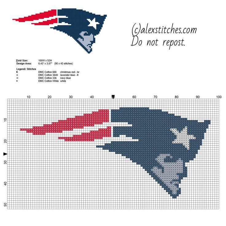Patriots National Football League NFL sport team free cross stitch pattern 90 x 43 stitches 4 DMC threads
