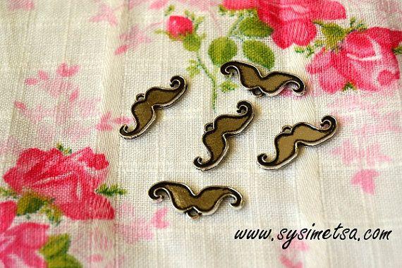Miniature Mustache Charms  Antique Silver by TaikalandiaSupplies