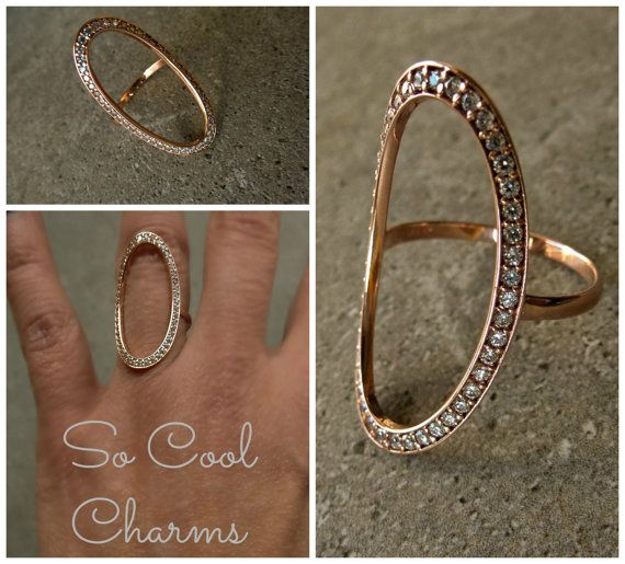 14K Solid Gold Ring Oval Open Circle Ring w Clear by SoCoolCharms