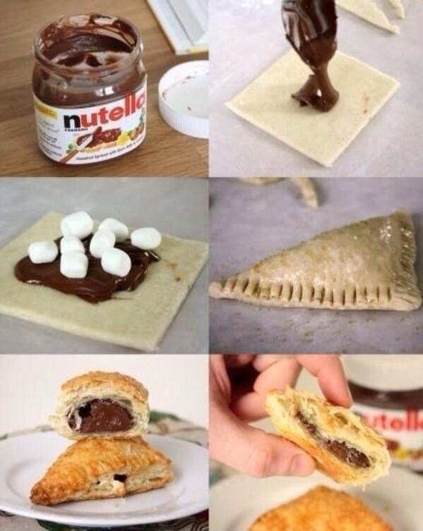 Bladerdeeg met Nutella en spekjes