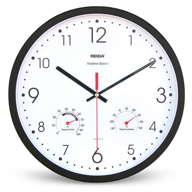 13 Inch Large Clock Living Room Modern Simple candy colors Mute Quartz Wall Clock with Thermometer and Hygrometer home decor
