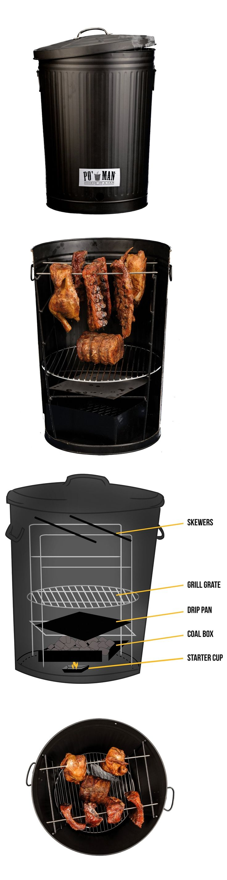 Garbage Can Charcoal BBQ Grill
