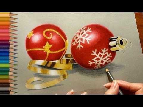 Colored Pencil Drawing: Christmas Tree Decorations   Jasmina Susak - YouTube