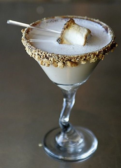 Fun and tasty adult beverages - pictured is a S'mores martini...yum!