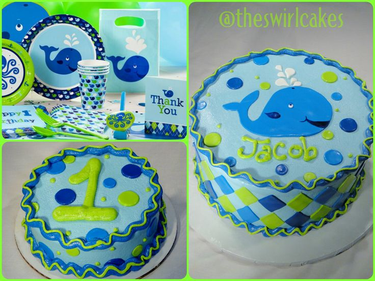 Whale themed 1st birthday baby boy whale birthday party blue green lime to match decorations