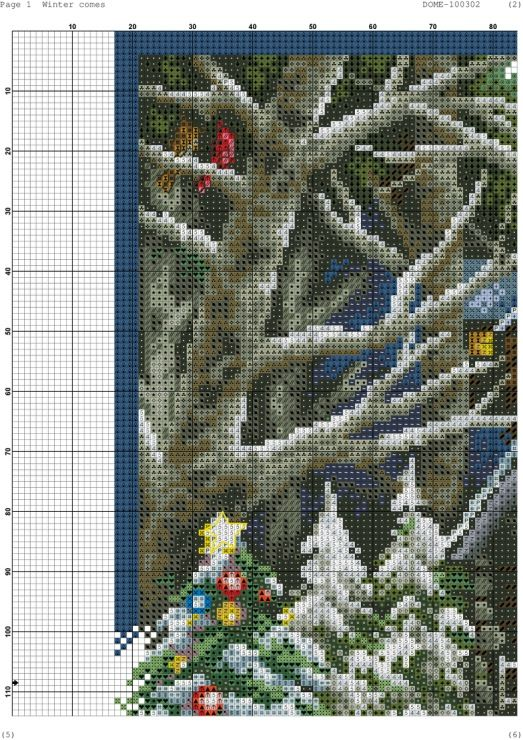 Cross-stitch Winter Comes, part 4 of 11..  color chart on parts 2 & 3