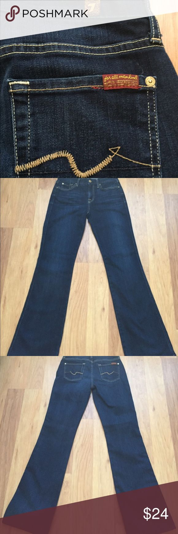 Seven for all mankind dark denim bootleg jeans 26 These jeans look brand new!! Only worn once and they are beautiful. Seven for all mankind dark denim Kimmie bootleg jeans.   Size 26, waist 13, hips 16, length 40, inseam 31.5 7 for all Mankind Jeans Boot Cut