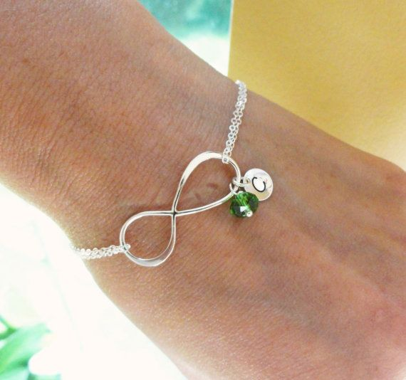 Personalized Infinity Bracelet with initial & Birthstone, Mothers bracelet, Sterling silver Initial bracelet, Silver infinity jewelry