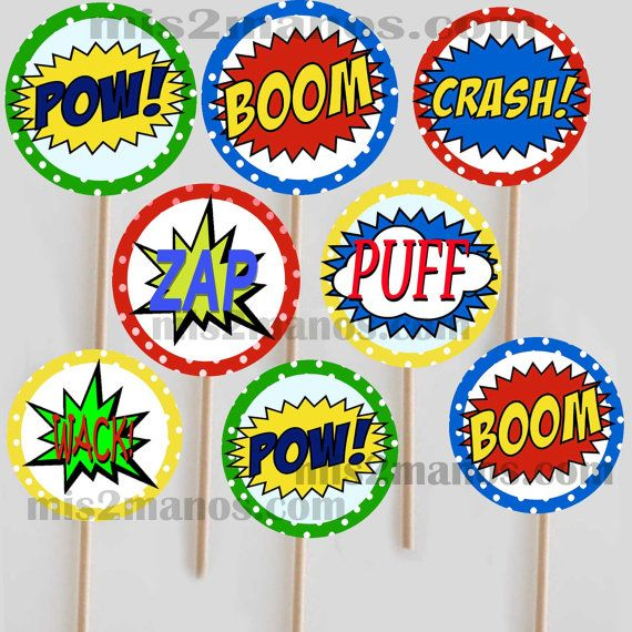Super hero comic book cupcake toppers Printable by M2MPartyDesigns