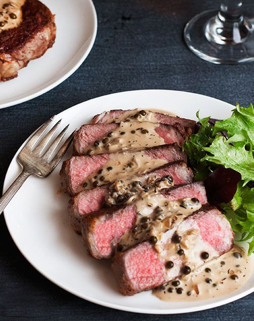 Inspired by the classic French bistro dish, this steak au poivre with a peppercorn-laden creamy pan sauce is an easy yet elegant way to impress your guests.