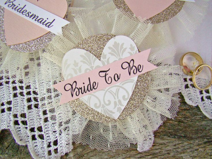 Bride Badge, Bride To Be, Heart, Bride Corsage, Bachelorette Party Pins, Bridal Shower, Hen Party Pins, Wedding Party Badges, Blush, GoLd by TwiningVines on Etsy https://www.etsy.com/listing/230756471/bride-badge-bride-to-be-heart-bride