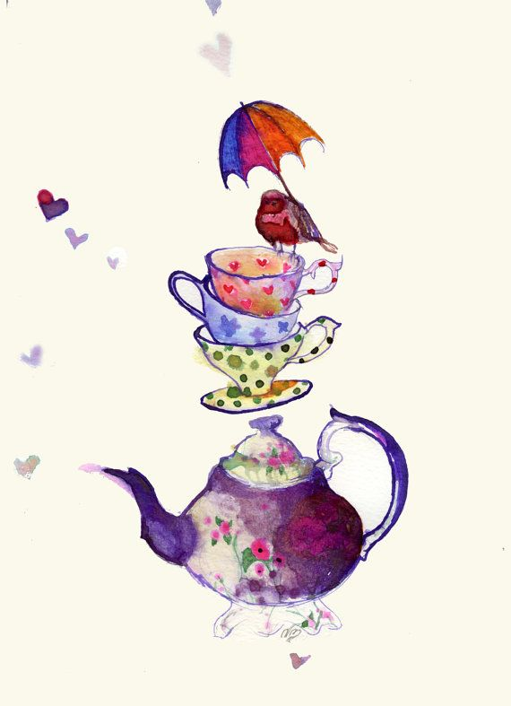 Tea for Three Ink & Water colour Drawing by PillowsAway on Etsy