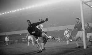 Bangor City goalkeeper Len Davies in action during the 1962-63 Cup Winners' Cup first-round play-off against Napoli, at Highbury. They were in the Welsh League (North) at this time, but would go on to play in the competition as non-leaguers.