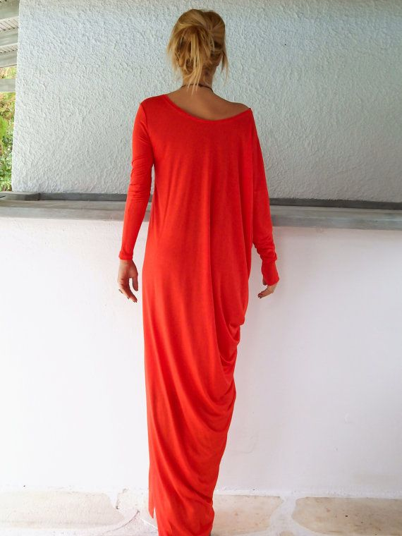 Red Maxi Long Sleeve Dress / Red Kaftan / Asymmetric Plus Size