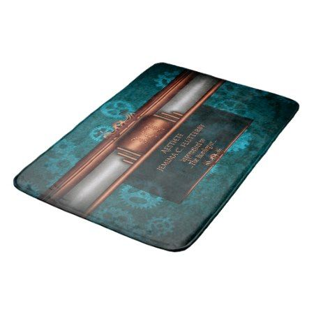 Monogram, Steampunk Deco fusion, copper and teal Bath Mat - tap, personalize, buy right now!