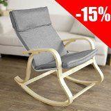 SoBuy FST15-DG Rocking Chair Fauteuil à bascule Fauteuil berçant Fauteuil relax Bouleau Flexible -Gris