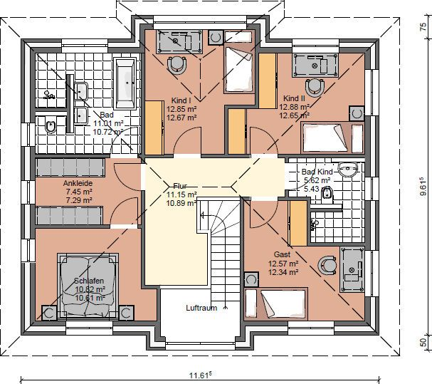 Stadtvilla Grundriss Obergeschoss mit 3 Kinderzimmer, Ankleidezimmer ...