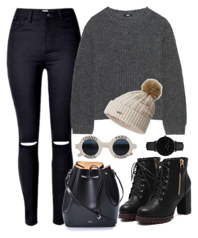 """""""november calling ..."""" by pepito-sutrisno on Polyvore featuring Uniqlo, N°21, Chanel, SOREL and CLUSE"""