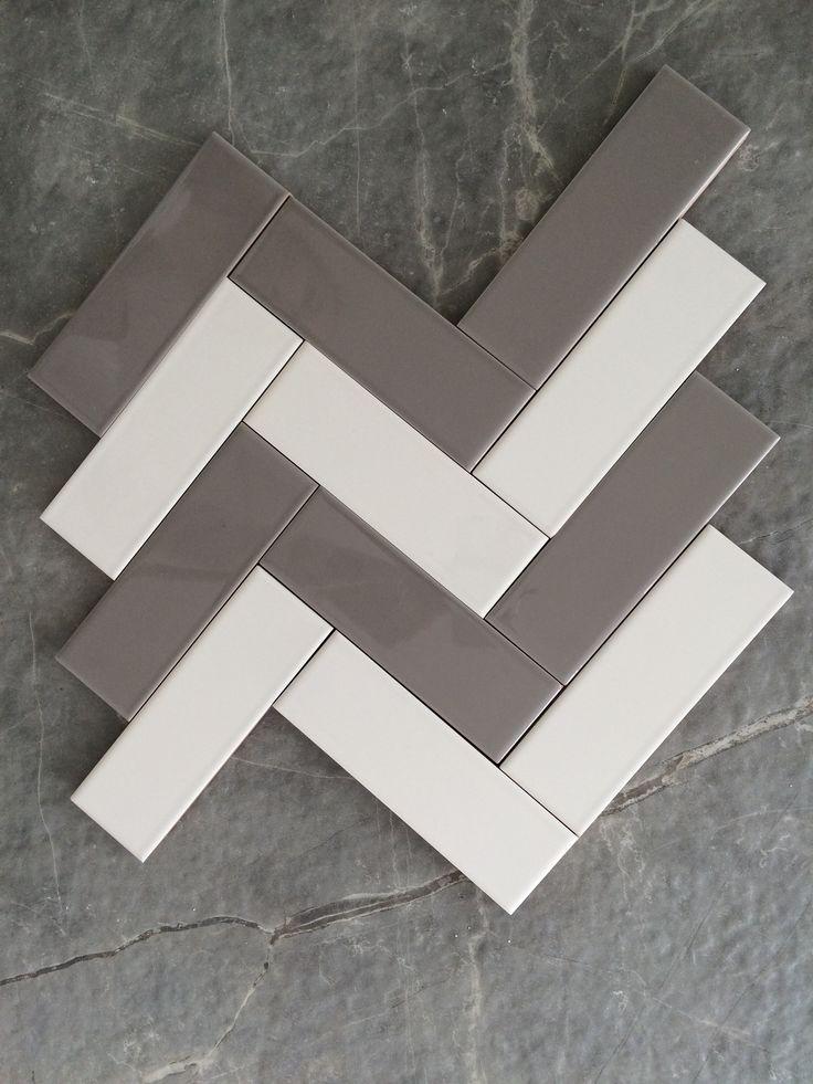 Herringbone Ceragres Grey White Tiles Senio Trapunta
