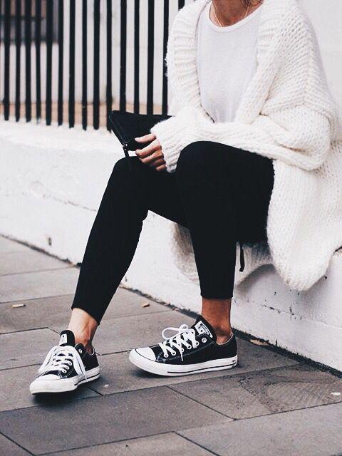 Winter //  Top- plain white t-shirt // Pants- plain black leggings // Shoes- low top black converse // Overlay- oversized white chunky knit cardigan // Accessories- plain black rectangle purse
