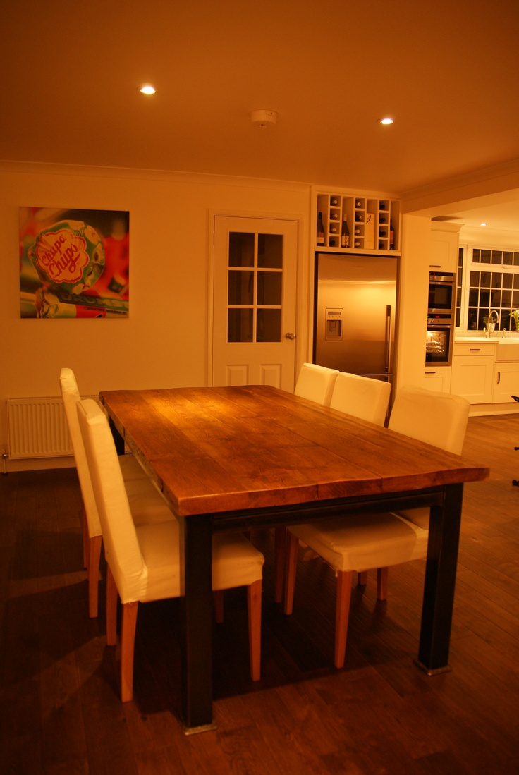Reclaimed oak Dining table from The Old Cinema Club, Chiswick.