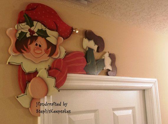 Hand painted holiday elf door hanger door by for Elf door and elf