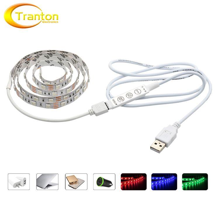 USB 5 V LED Strip 5050 RGB TV Latar Belakang Pencahayaan 60LED/m 50 cm/1 M/2 M Set