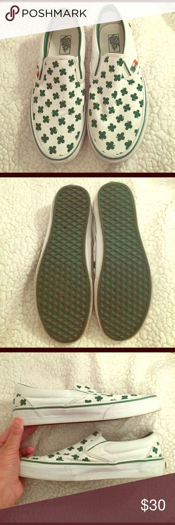 Erin Go Braugh Vans Excellent condition, minor signs of wear. Just a little dirt here and there, should look brand new after a washing. Size says Men's US 8, but I wear a 9.5 women's and they fit me perfectly. Vans are typically unisex shoes, so listing as women's. Note: I've been informed these are pretty rare. 🍀 Vans Shoes Sneakers