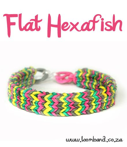 Flat Hexafish loom band bracelet tutorial http://loomband.co.za/flat-hexafish-loom-band-bracelet-tutorial/