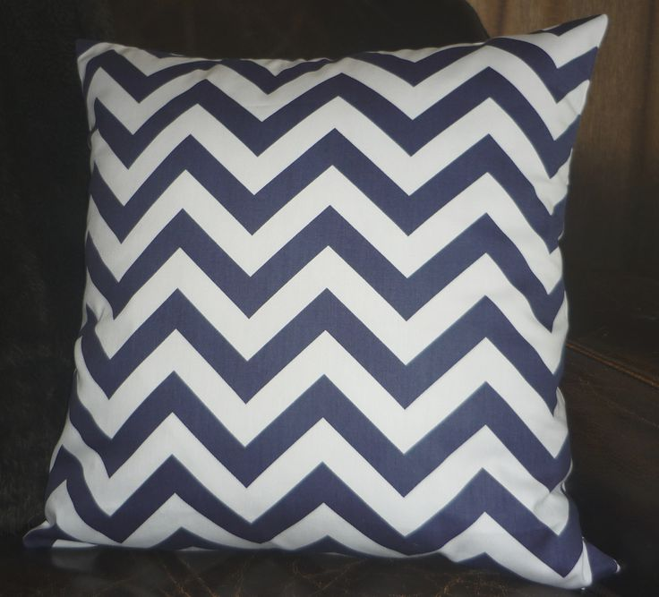 Navy blue & white chevron cushion cover