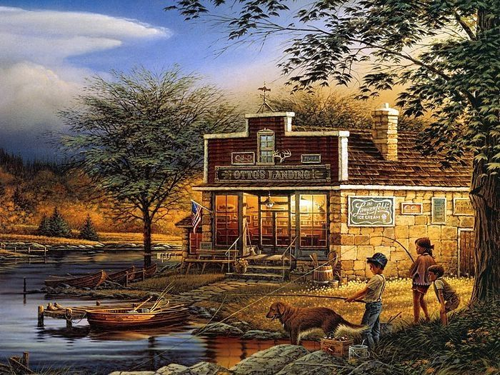 Master Artist : Terry Redlin Paintings 、Summertime - Terry Redlin Oil Paintings 、Americana Painting of a rural America Cottage. Nostalgic Heartwarming Scenes of Americana Rural Life. Terry Redlin Oil Paintings, Out-of-doors themes Paintings.
