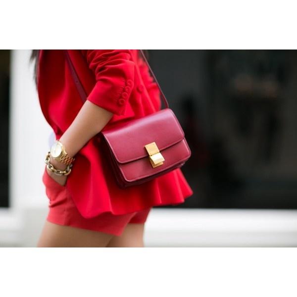 Fire engine red Crimson blazer Celine box ❤ liked on Polyvore