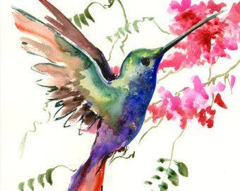 Colibri aquarelle originale peinture 14 X 11 po par ORIGINALONLY