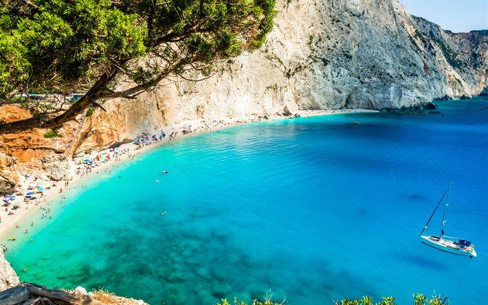 Download wallpapers Porto Katsiki, 4k, sea, beach, summer, Lefkada, Greece