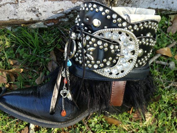 Boho Cowgirl Joan boots, Cowboy boots, SteamPunk, Gypsy boots, Ankle Boots, Bad to the Bone Boots