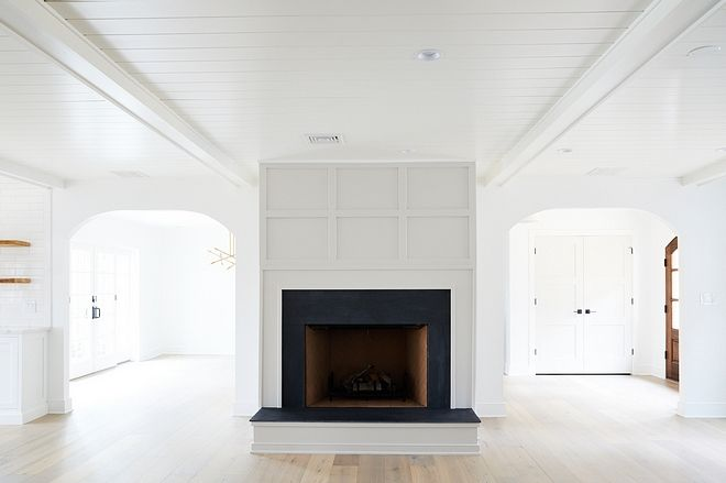 Grid Board And Batten Fireplace Grid Board And Batten Fireplace With Tongue And Groove And Beams Ceiling Grid Boa With Images Home Renovation Home Fireplace Home
