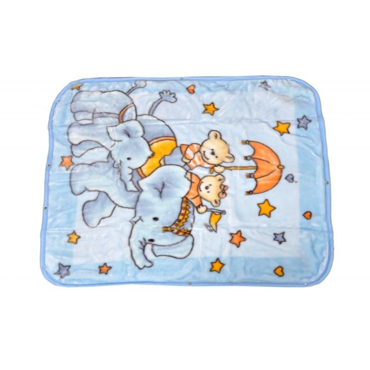 Valtellina Elephant With Kids Collection Design Double Baby Mink Blanket (QTB-004) #onlineshopping