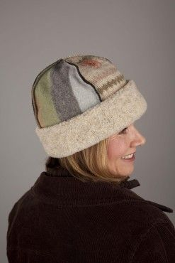 seamed hat made from old sweaters - I've done this too; great use of scraps from bigger projects
