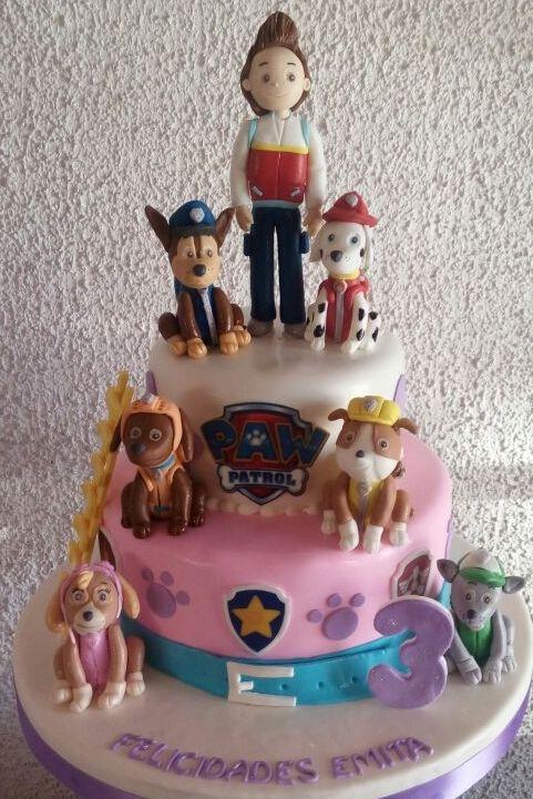 www.tortasimagina.cl torta cumpleaños niño paw patrol  para 40 personas en 2 pisos