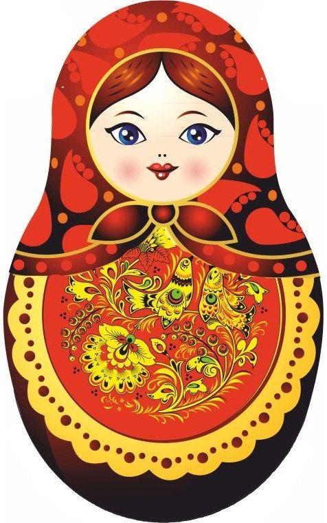 Matryoshka – Russian nesting doll. Vector clip art.