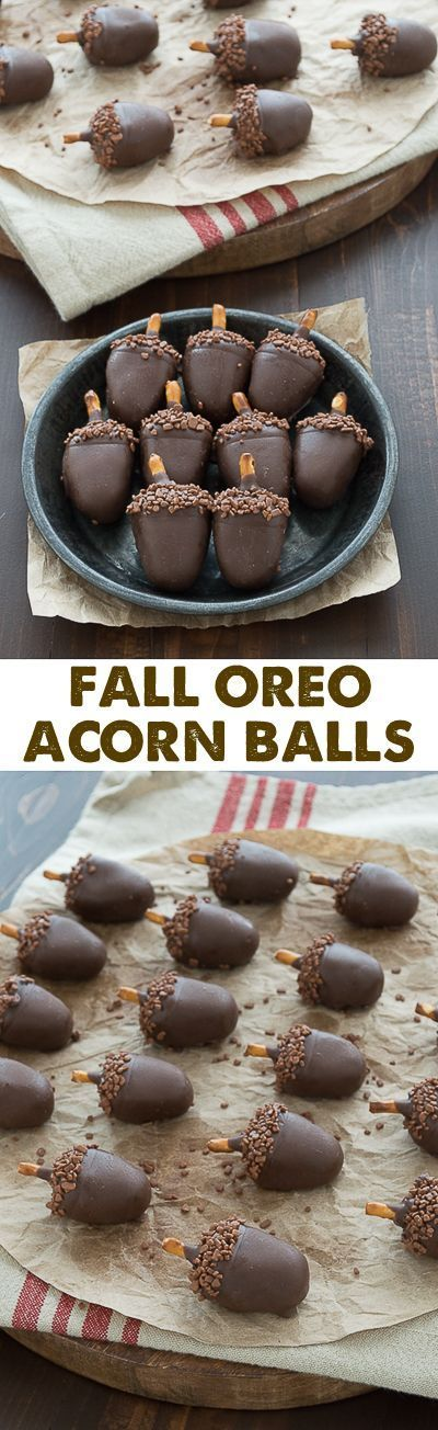 These are SO adorable! Peanut butter oreo balls made to look like acorns!!: