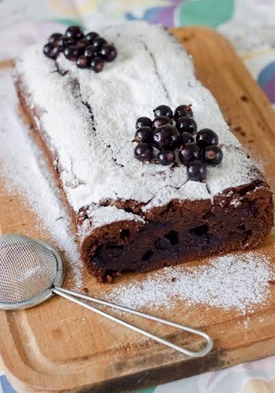 Brownies with black currant and Creme De Cassis.