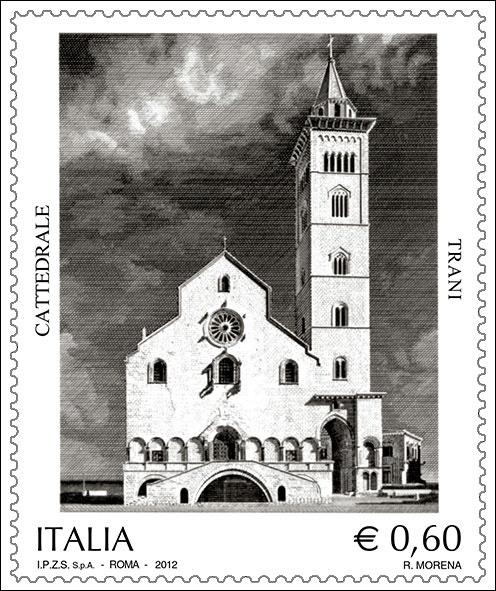 Il francobollo, emesso il giorno 1 giugno 2012, raffigura la facciata della Cattedrale di Trani, di architettura romanica pugliese risalente all'epoca della dominazione normanna, con a fianco l'imponente campanile che si innalza su un arco a sesto acuto.