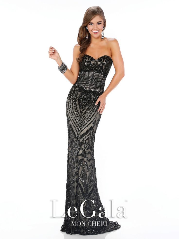 Le Gala - 116541 - Strapless sequin sheath with sweetheart neckline, boned midriff, sweep train. Removable straps included.Sizes:0 – 16Colors:Black, White, Royal Blue