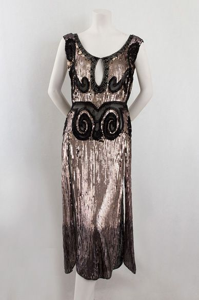 French sequined tulle evening dress, c.1923