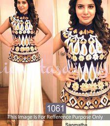 Buy Blue  velvet semi stitched salwar with dupatta bollywood-salwar-kameez-online online