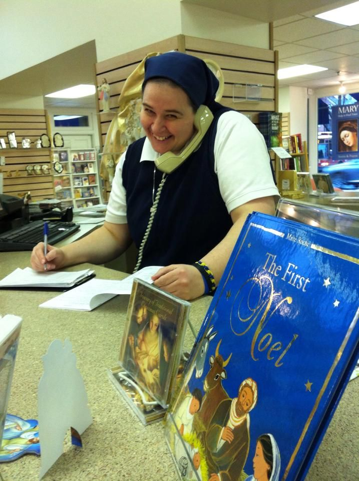 Sr. Laura Fidelis in the Alexandria Book Center. Our Book Centers are extra busy as people use this time to share the Gospel with others.
