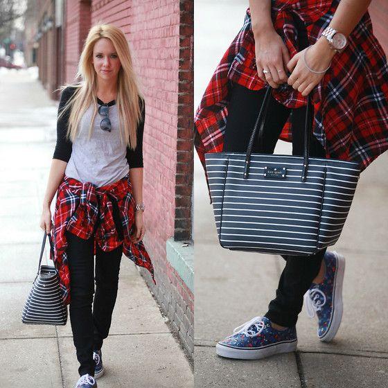 Kate Spade Bag, Forever 21 Flannel, Vans Shoes